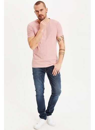 DeFacto Slim Fit Basic T-shirt Pembe